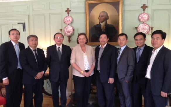 Ambassador Ha Huy Thong (third from left) with Jackie O'Neill and colleagues in the Wadsworth House parlor