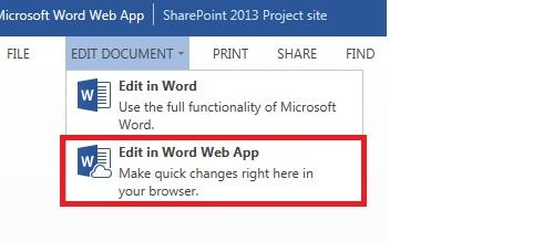 Edit in Word Web App