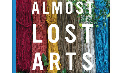 Colorful fibers hanging with Almost Lost Arts across the image.