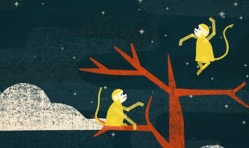 An illustration of one monkey sitting in a tree and one monkey leaping from the tree.