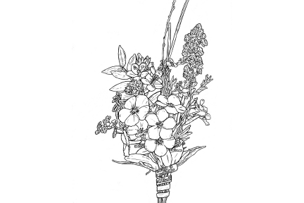 Black and white illustration of a glass flower bouquet.