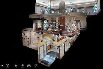 Three dimensional interior view of the Harvard Museum of the Ancient Near East.