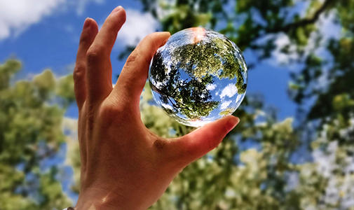 A hand holding a clear, glass ball being held up to the sky, reflecting tree leaves.