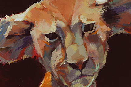 Gestural painting of the lion cub.