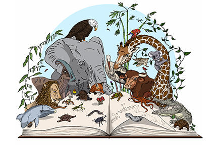 Illustration of animals reading a book.