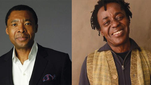 Images of Okwui Enwezor and John Akomfrah speakers for the Harvard Museums' Seminar on Innovative Curatorial Practice special event