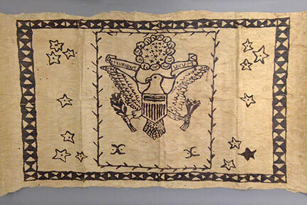 tapa bark cloth with great seal of united states