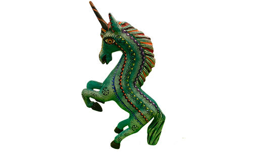 Wooden sculpture of a unicorn painted green.