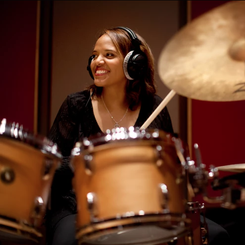 Terry Lyne Carrington playing the drums
