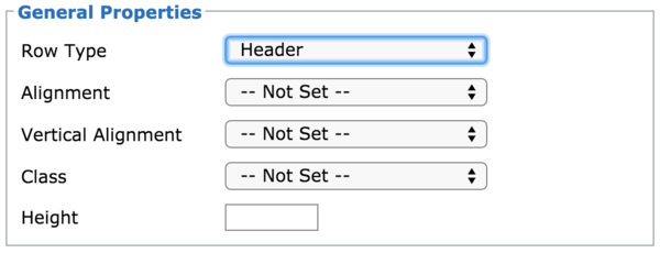 Table row options form with a Row Type select element set to header