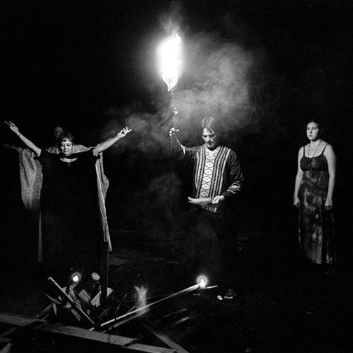Priestess and Priest Invoke Gods and Goddesses during a Circle Celebration