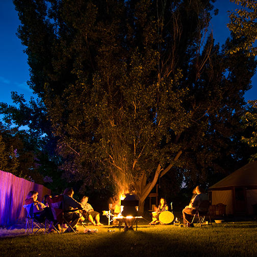 Members of Church of the Sacred Circle Gather for Drumming and Fire Circle in Utah