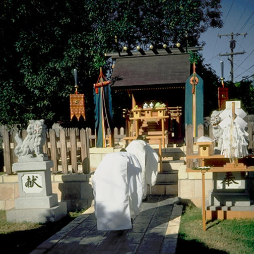 Priests Bowing Before Shrine at the Tsubaki America Grand Shrine