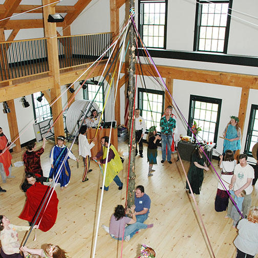Indoor Maypole in Celebration of Spring for May Day