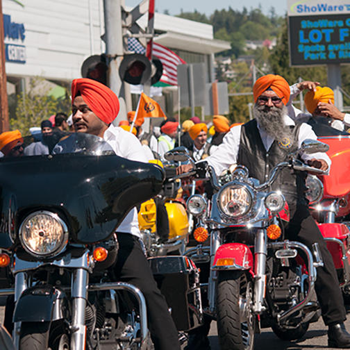 Motorcycle Club Leading a Parade During the Vaisakhi Festival