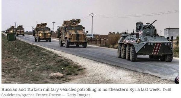 Russian and Turkish military vehicles patrolling in NE Syria