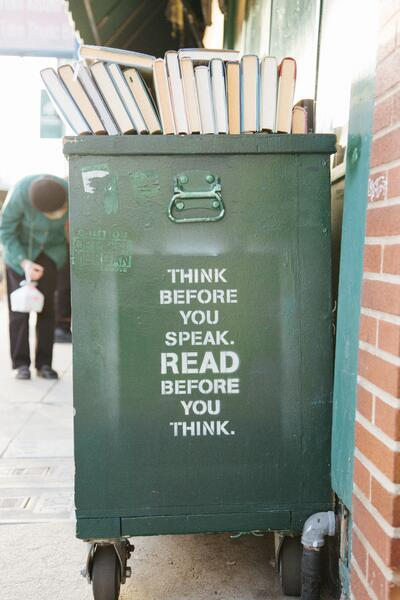 Library Cart reads, think before you speak, read before you think.