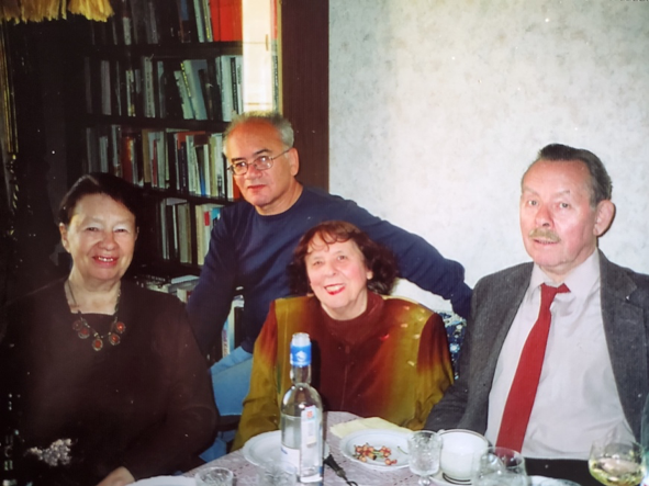 Galina Alexandrovna with Iakov Goldberg (senior editor of the journal Zvezda) and his wife, a translator. Behind them is her longtime friend, the poet Alexander Kushner.