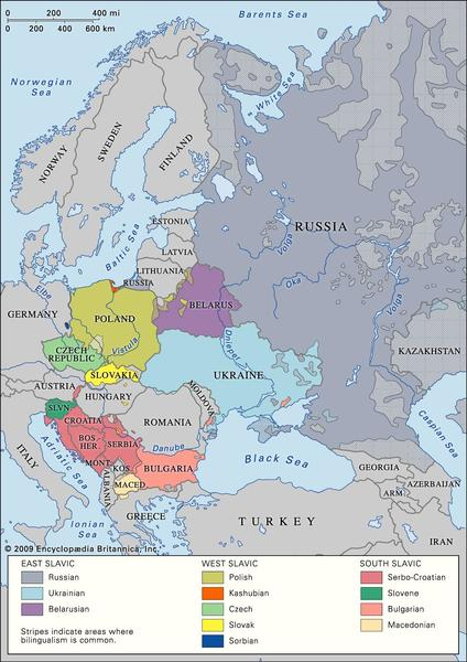 Distribution of Slavic languages in Europe