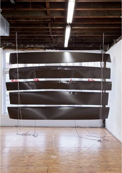 Nora Schultz, Window Blinds 2015, aluminum, metal hooks, and nylon rope. Courtesy of Reena Spauldings Fine Art