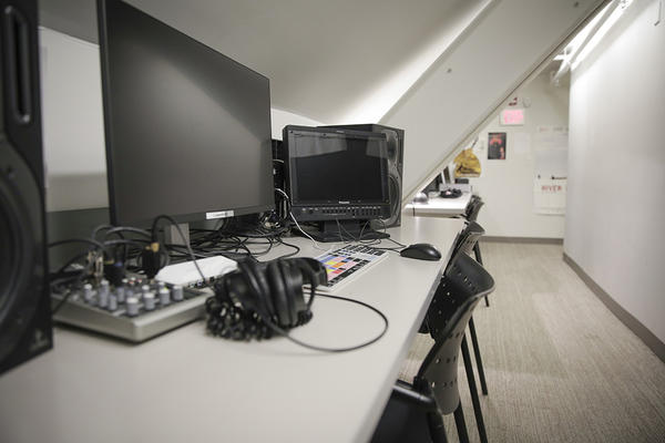 Film editing equipment in Sever Hall
