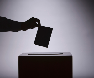 Voter places ballot in box