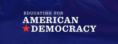 white text saying Educating for American Democracy on a blue background