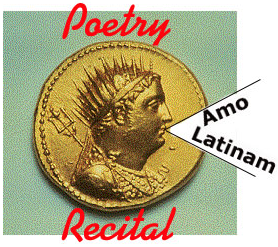 "Image of coin with head on obverse saying ""Amo Latinam"""