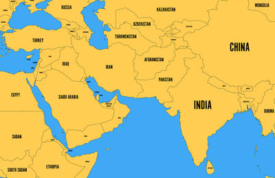 map of China & Middle East
