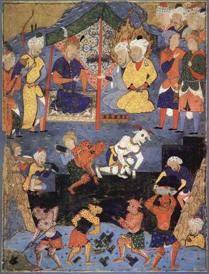 "6th-century Persian miniature of genies (""jinn""), helping Alexander build the Iron Wall"