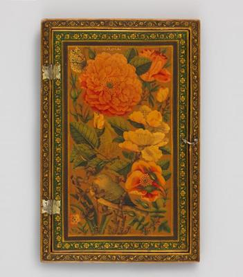 Rectangular Mirror Case with Flowers, Butterfly, and Sleeping Bird