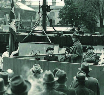 Laying the Littauer cornerstone, May 1938. Lucius Littauer, seated leftmost.