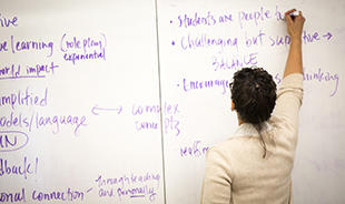 Person Writing on White Board Image