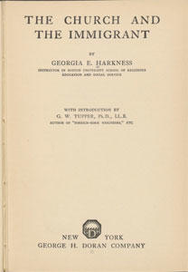Title page of The Church and the Immigrant by Georgia E. Harkness. New York: George H. Doran Co., 1921.