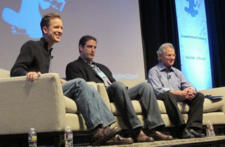 Soren Gordhamer, Rep. Tim Ryan (D-OH), and Jon Kabat-Zinn on a panel at Wisdom 2.0 in 2011.