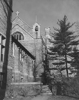 Andover Hall, view of the bell tower and cross