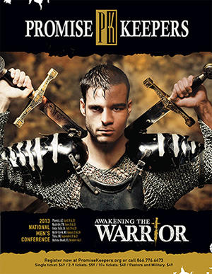 "Poster for a Promise Keepers conference ""Awakening the Warrior"""