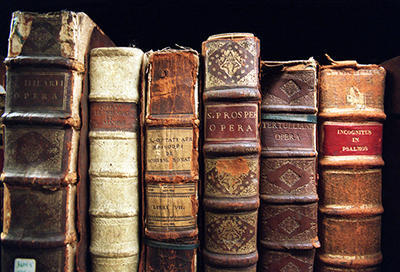 Bookshelf of beautiful rare books