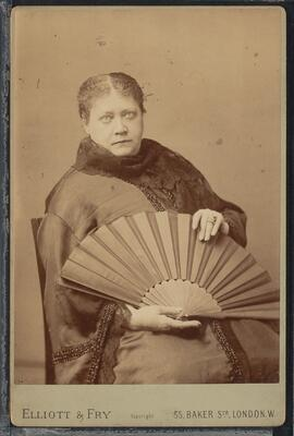 Photograph of HP Blavatsky holding a fan, 1887. bMS 516.