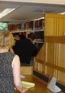 The first books being pulled for scanning from the reference collection in September 2006