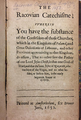 Title page of the 1652 English translation of the Racovian Catechism (R.B.R. *B16)