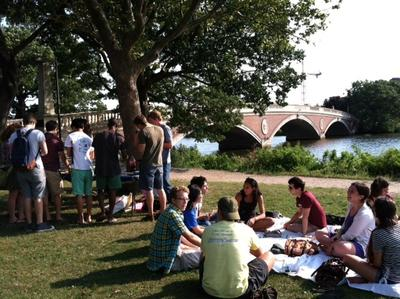 A falafel picnic on the Charles River