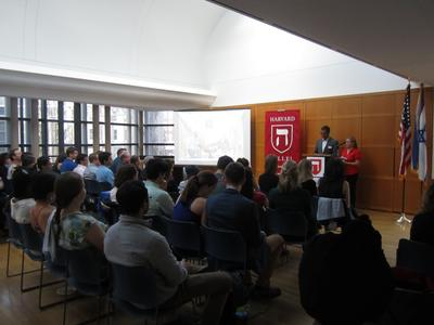 Two Harvard students present their experience on Hillel's Israel trek.