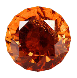 Round bright orange gemstone called willemite.