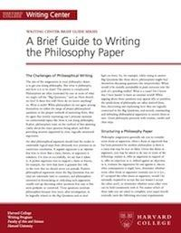 brief guides to writing in the disciplines  brief guide to writing the philosophy paper
