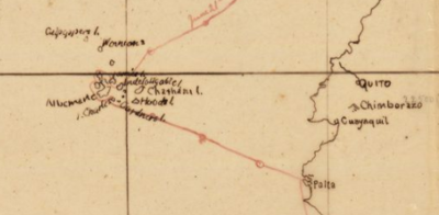 map showing Hasseler expedition route
