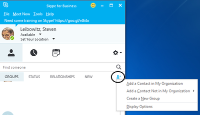 Adding External Contacts to Skype