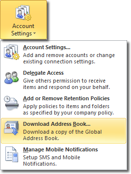 Outlook 2010 Address Book Interval