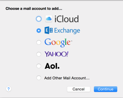 Choose a mail account for Mac Mail - select Exchange