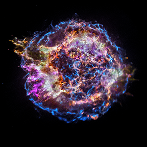 Cassiopeia A, a well-known supernova remnant pictured in space by the Chandra X-Ray Observatory